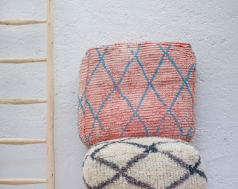 BLUSH & TEAL Vintage Moroccan Pouf/ Moroccan Floor Cushion/ Boujad Floor Cushion/ Pouf Cover