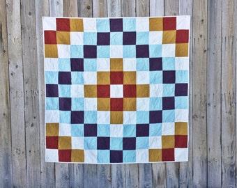 Autumn Sky Quilt | Modern Throw Quilt | Patchwork Quilt