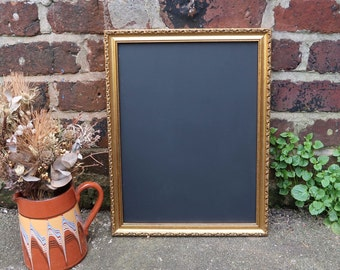 Medium Vintage Gold Metallic Frame with Chalkboard 17 x 14 inches - Perfect for Wedding - Blackboard, Menu, Welcome Sign, Home Decor, Party
