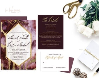 Printable Wedding Invitation Suite / Calligraphy / Wedding Invite Set - The Mariah Noelle Agate Suite