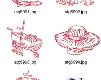 Redwork-Gardening ( 10 Machine Embroidery Designs from ATW ) XYZ17D
