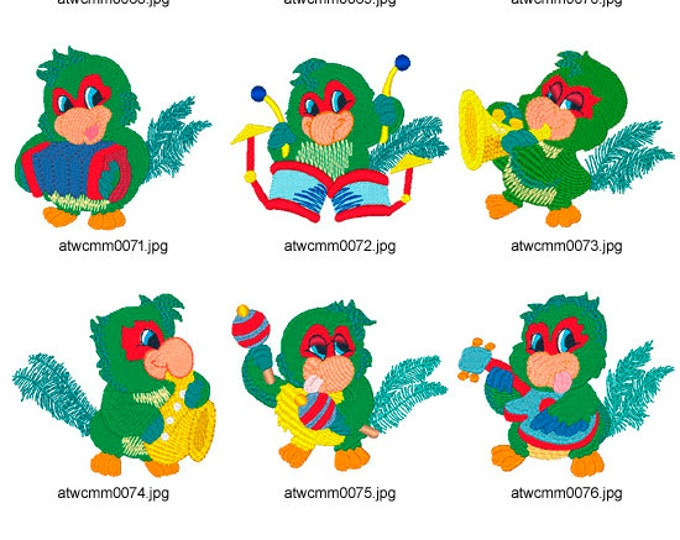 Musical-Parrots. ( 10 Machine Embroidery Designs from ATW )