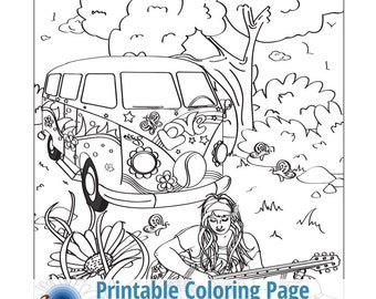 hippie days adult coloring page bohemian free spirit guitar hippy - Hippie Coloring Pages