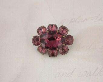 Small 50s Glass Brooch - Purple Rhinestone Pin - Vintage Faux Amethyst Brooch - Flower Shaped Brooch