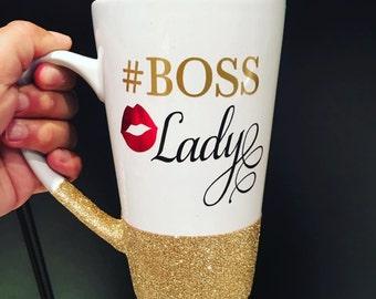 Boss Lady Glittered Mug, #bosslady