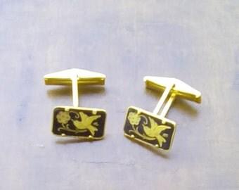 Vintage 24 ct Gold Plated Men's Cufflinks Toledo Spain 24