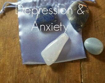 Gemstones For Help With Depression & Anxiety, with French Blue Satin Pouch