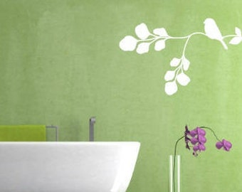Bird on Branch Wall Decal, Choose From Many Colours, Many Sizes to Choose From