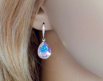 Handmade Swarovski Aurora Borealis AB Pear Crystal Dangle Earrings, Bridal, Wedding (Sparkle-2354)