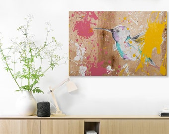 Hummingbird Canvas, Bird Wall Art Prints ,Large Wall Art, Flying Bird Print Living Room Decor, 24x36 print Hummingbird Painting #544HM
