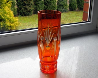 60s / Bohemian Crystal Vase / MOD / Mid Century Vase / Tall Vase / 11,5 ''/ Hand Cut / Space Age / Large Vase / Orange / Red / Cut to Clear
