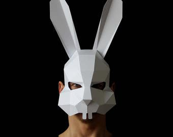 BUNNY Mask - Make your own bunny rabbit mask from card and this easy PDF download