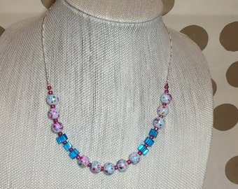 Turquoise and Pink Speckled Necklace