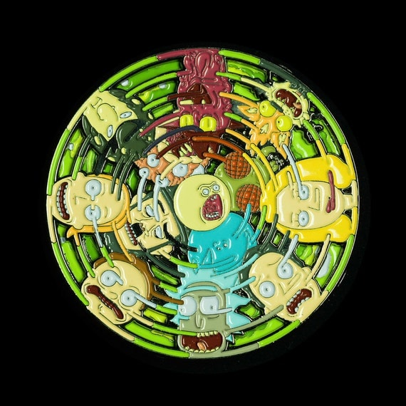 Rick and Morty Portal Spinner Pin (2 layers, top layer with faces SPINS, bottom layer is a R&M portal) - POSP01 - OG - LE/150