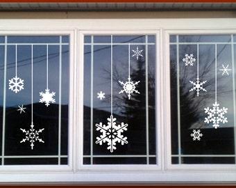 Vinyl Holiday decal / christmas window decals, Winter decals, christmas wall decals, christmas wall art, snowflake window decoration