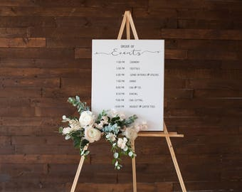 No. OE1(8) | Order of Events | 8 Event Entries | DIY | Printable and Editable | Schedule | Timeline | Sign | Poster | Wedding