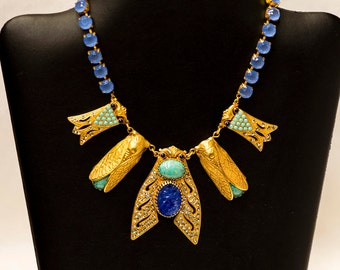 Askew London Spectacular Cobalt and Turquoise Cicada Necklace