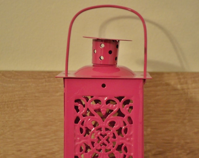 10%OFF Small vintage pink Moroccan metallic lantern / lanterns