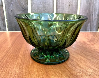 Green Glass Bowl, Vintage Anchor Hocking Green Glass Bowl, Fairfield Footed Candy Dish, Candy Dish, Vintage Green Glass