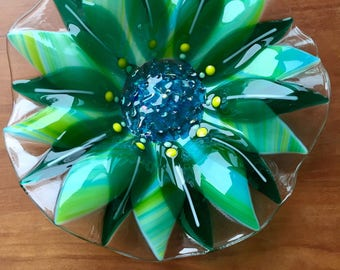 Fused Glass Bowl – Green and Blue Flower Bowl