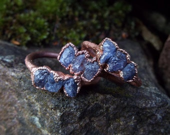 Tanzanite, Tansanitring, gemstone ring, crystal ring, Statementring, Healingstone, Boho, copper ring, Electroformed, raw tanzanite ring