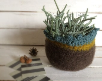 Felted Bowl, Brown Mustard and Blue Sage Fiber Pod