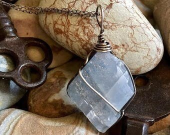 Blue Calcite Necklace Sterling Raw Blue Calcite Jewelry Chakra Calcite Pendant Energy Necklace Energy Jewelry Boho Necklace Stone Necklace