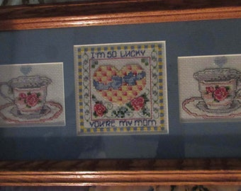 Handmade Cross-Stitch Mother's Day Gift Framed Matted 7.5 X 13.5