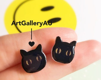 Kawaii Black Cat Stud Earrings, Cute Kitty Studs, Handmade Kitten Earrings, Animal Earrings, Gift for Her