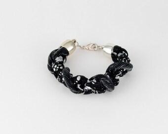black and silver bracelet, bracelet braided fabric, chic bracelet, festive, original, handmade, metallic