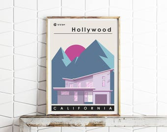 Hollywood Hills Contemporary Art Print -- Mid Century Modern -- Los Angeles California -- Travel Poster -- Free UK Postage
