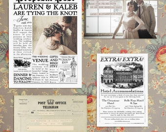 Vintage Newspaper Wedding Invitation Suite The Proposal Post