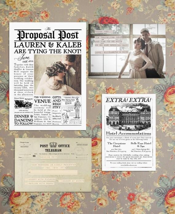 Vintage Newspaper Wedding Invitation Suite The Proposal
