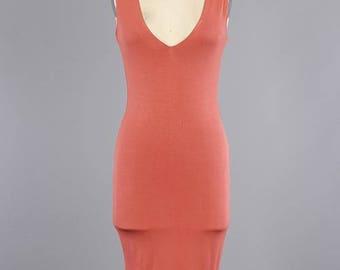 Deep V Plunging Neckline Sleeveless Midi Body-con Dress/ Scoop Back Sleeveless Knit Body-con Custom Dress/ ( + Colors )