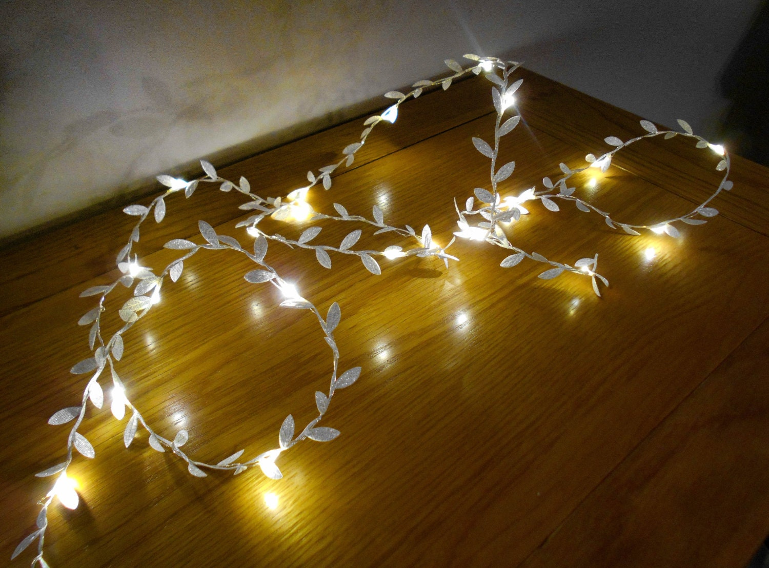 Silver Leaf Garland Fairy Lights String Lights LED