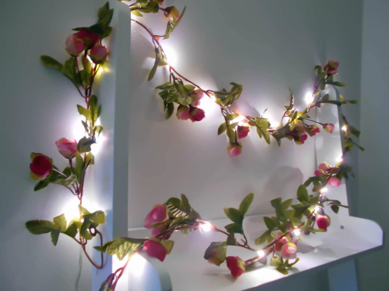 pink rose fairy lights string lights wedding by. Black Bedroom Furniture Sets. Home Design Ideas