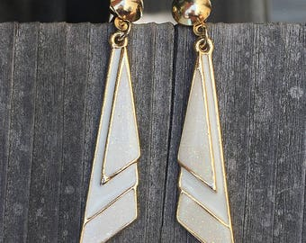 Vintage 1980's White and Gold Enamel Triangle Dangle Earrings