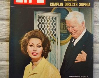 Vintage Life Magazine 1966 - Charlie Chaplin - Sophia Loren - Old Magazine - Vintage advertising - 1966 Life Magazine - Charlie Chaplin gift