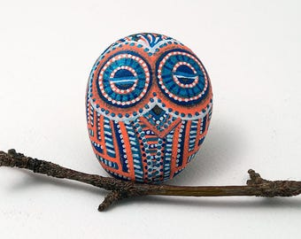 Small Owl Stone | Hand painted orange and blue | garden stone art