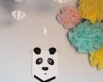 Panda Nursery Flag, Monochrome Nursery, Panda Nursery Decor, Black and White Nursery, Nursery Pennant, Kids Wall Art, Cute Gift for New Baby
