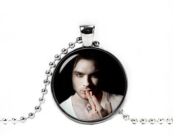 Ian Somerhalder Necklace Damon Salvatore Pendant Vampire Diaries Fangirl Fanboy Ian Somerhalder Jewelry