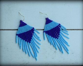 Blue Fringe Earrings,Beaded Fringe Earrings,Blue Earrings,Statement Earrings,Long fringe,Seed bead earrings,Gift for her,Nickel Free,Apparel