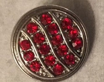 New Silver 18mm Interchangeable Snap with Red Rhinestones for Snap Jewelry