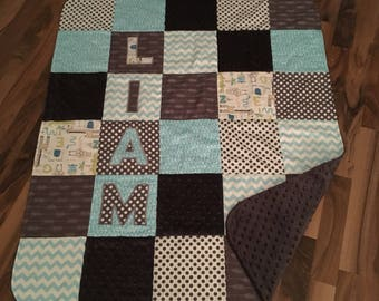 Nursery Quilt Personalized Handmade   Minky Baby Blanket   Personalized Baby Gift
