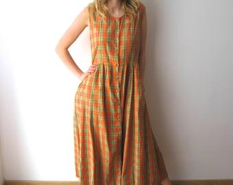 Vintage Comfortable Home Dress Plaid Cotton Summer Dress Sleeveless Shirt Dress Grandmother Dress Large Size Festival Dress Checkered Dress