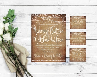 Rustic Wedding Invitation Template- Wedding Invites- Country Wedding Invitations-Rustic Wedding Suite-Boho Wedding Invitation-String Lights