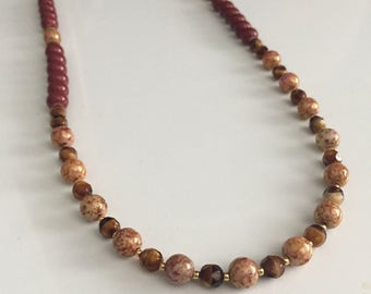 Beaded earth toned long necklace