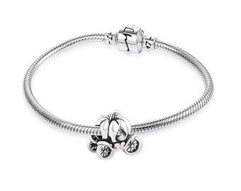Cinderella's Pumpkin Carriage Charm - 925 Sterling Silver - Gift Packed