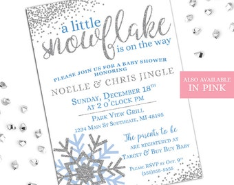 Winter Baby Shower Invitations, A Little Snowflake Is On The Way, Snowflake  Baby Shower