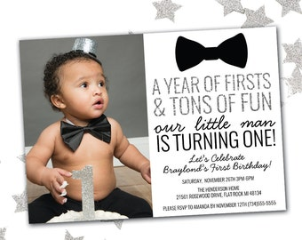 Little Man Birthday Invitation, First Birthday Invitation Boy, Bow Tie Birthday Invitation, Printable Birthday Invitation
